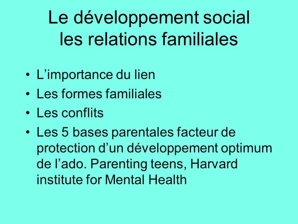 Le développement social les relations familiales •L'importance du lien •Les formes familiales •Les conflits •Les 5 bases parentales facteur de protect