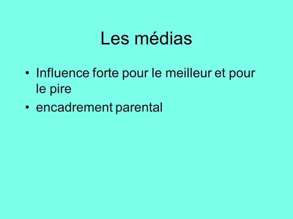 Les médias •Influence forte pour le meilleur et pour le pire •encadrement parental