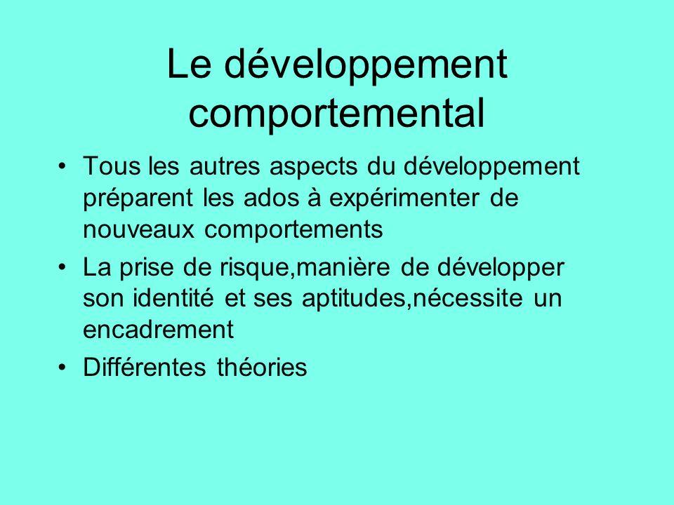 Le développement comportemental •Tous les autres aspects du développement préparent les ados à expérimenter de nouveaux comportements •La prise de ris