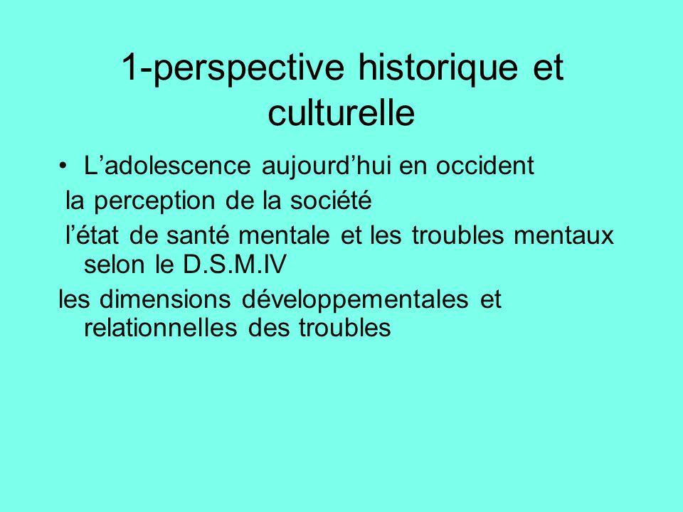 1-perspective historique et culturelle •L'adolescence aujourd'hui en occident la perception de la société l'état de santé mentale et les troubles ment