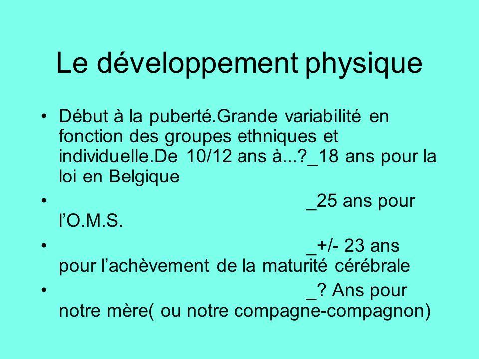 Le développement physique •Début à la puberté.Grande variabilité en fonction des groupes ethniques et individuelle.De 10/12 ans à...?_18 ans pour la l