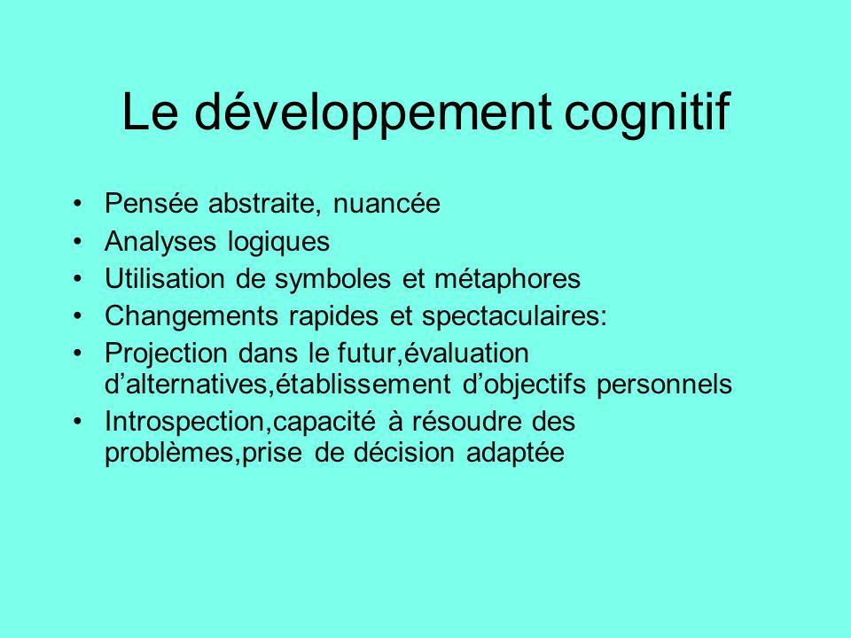 Le développement cognitif •Pensée abstraite, nuancée •Analyses logiques •Utilisation de symboles et métaphores •Changements rapides et spectaculaires: