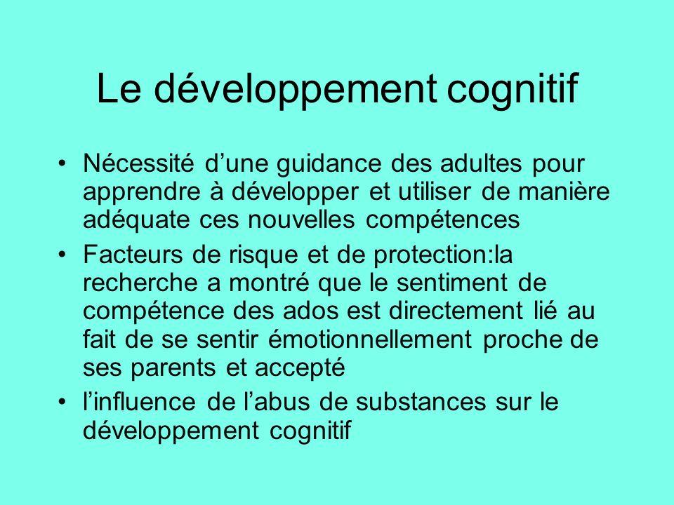 Le développement cognitif •Nécessité d'une guidance des adultes pour apprendre à développer et utiliser de manière adéquate ces nouvelles compétences