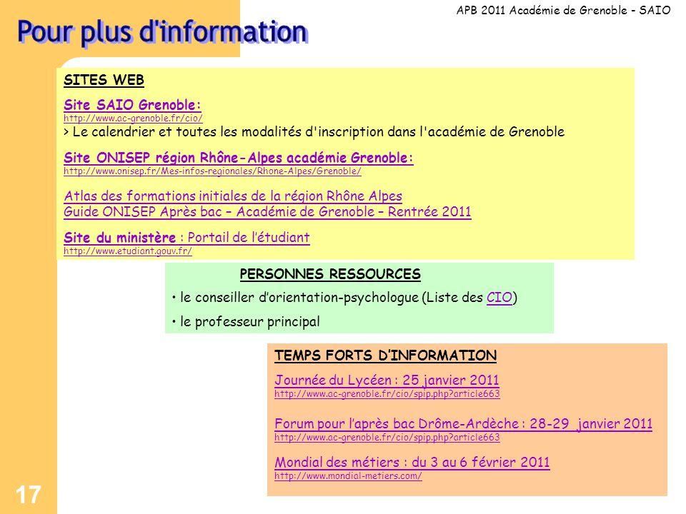 17 SITES WEB Site SAIO Grenoble: http://www.ac-grenoble.fr/cio/ > Le calendrier et toutes les modalités d inscription dans l académie de Grenoble Site ONISEP région Rhône-Alpes académie Grenoble: http://www.onisep.fr/Mes-infos-regionales/Rhone-Alpes/Grenoble/ Atlas des formations initiales de la région Rhône Alpes Guide ONISEP Après bac – Académie de Grenoble – Rentrée 2011 Site du ministère : Portail de l'étudiant http://www.etudiant.gouv.fr/ APB 2011 Académie de Grenoble - SAIO PERSONNES RESSOURCES • le conseiller d'orientation-psychologue (Liste des CIO)CIO • le professeur principal TEMPS FORTS D'INFORMATION Journée du Lycéen : 25 janvier 2011 http://www.ac-grenoble.fr/cio/spip.php article663 Forum pour l'après bac Drôme-Ardèche : 28-29 janvier 2011 http://www.ac-grenoble.fr/cio/spip.php article663 Mondial des métiers : du 3 au 6 février 2011 http://www.mondial-metiers.com/