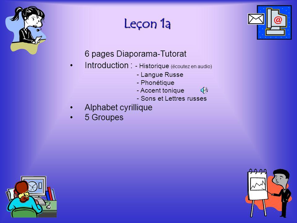 Leçon 1a 6 pages Diaporama-Tutorat •Introduction : - Historique (écoutez en audio) - Langue Russe - Phonétique - Accent tonique - Sons et Lettres russ
