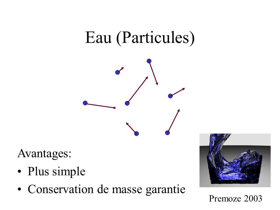 Eau (Particules) Premoze 2003 Avantages: •Plus simple •Conservation de masse garantie