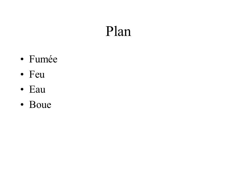 Plan •Fumée •Feu •Eau •Boue