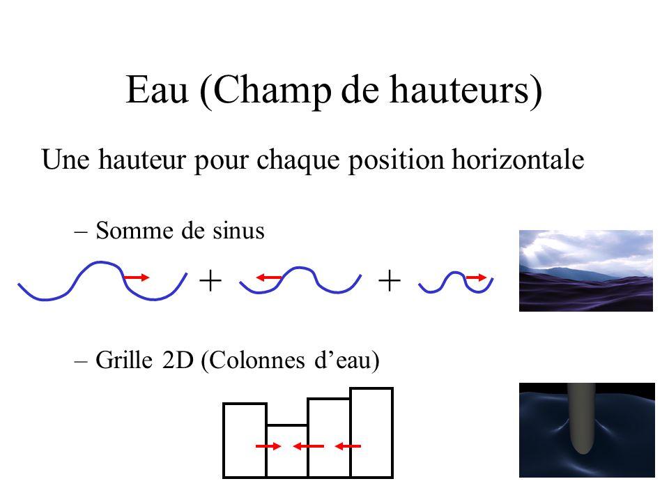 Une hauteur pour chaque position horizontale –Somme de sinus Eau (Champ de hauteurs) –Grille 2D (Colonnes d'eau) ++