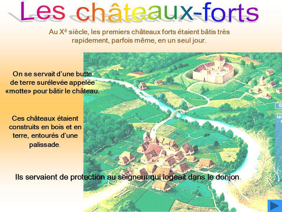 On se servait d'une butte de terre surélevée appelée «motte» pour bâtir le château. Ces châteaux étaient construits en bois et en terre, entourés d'un