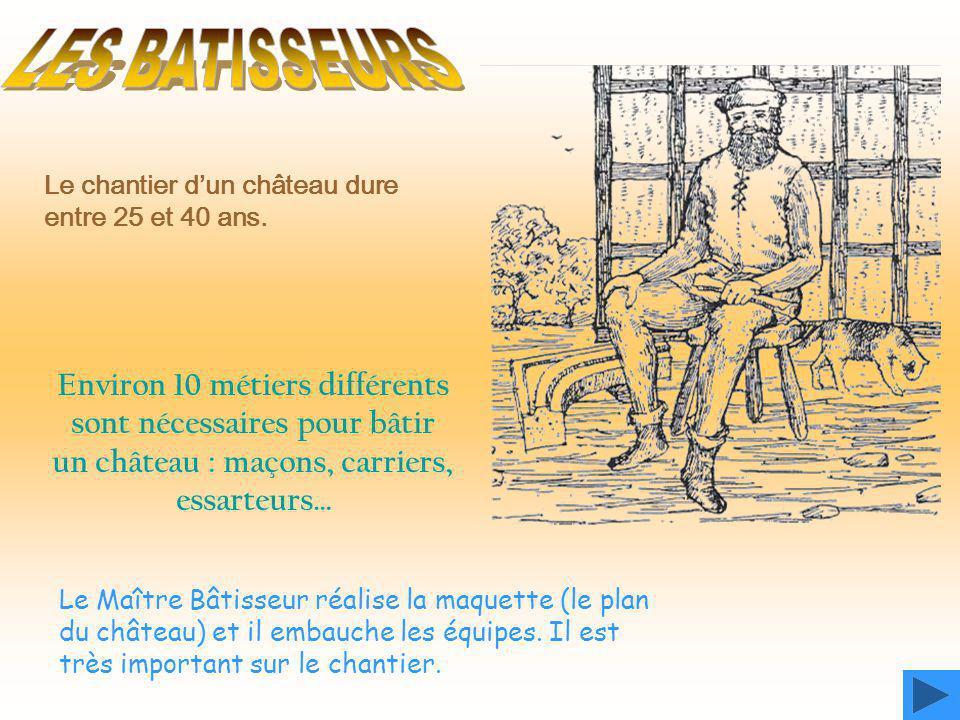 Le chantier d'un château dure entre 25 et 40 ans. Environ 10 métiers différents sont nécessaires pour bâtir un château : maçons, carriers, essarteurs…