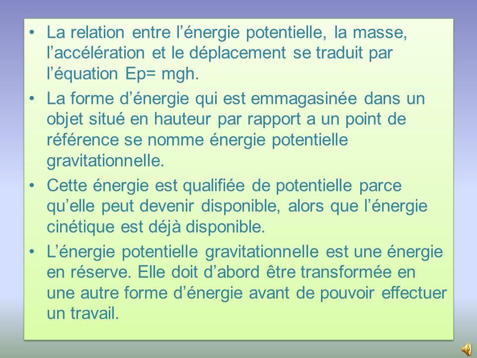 • La relation entre le travail et l'énergie se traduit par l'équation W=  E.