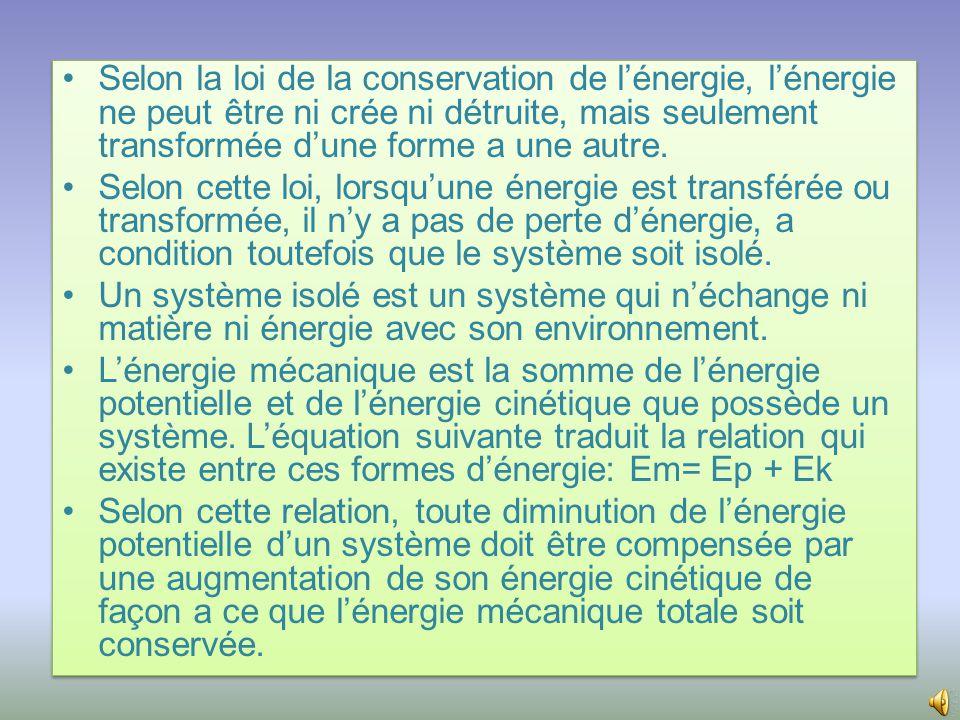 •La relation entre l'énergie potentielle, la masse, l'accélération et le déplacement se traduit par l'équation Ep= mgh.
