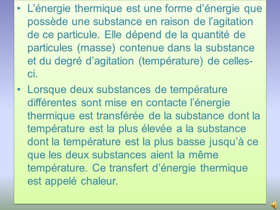 •L'énergie thermique est une forme d'énergie que possède une substance en raison de l'agitation de ce particule.