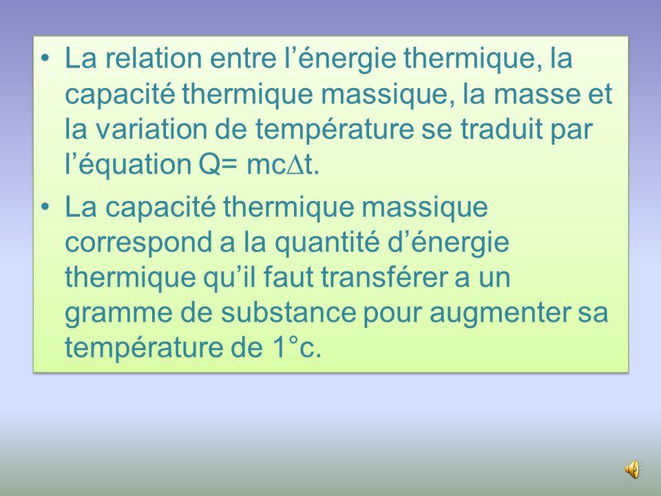 •La relation entre l'énergie thermique, la capacité thermique massique, la masse et la variation de température se traduit par l'équation Q= mc  t.