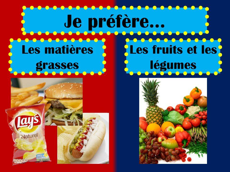 Les matières grasses Les fruits et les légumes Je préfère…