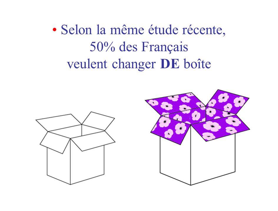• Selon la même étude récente, 50% des Français veulent changer DE boîte