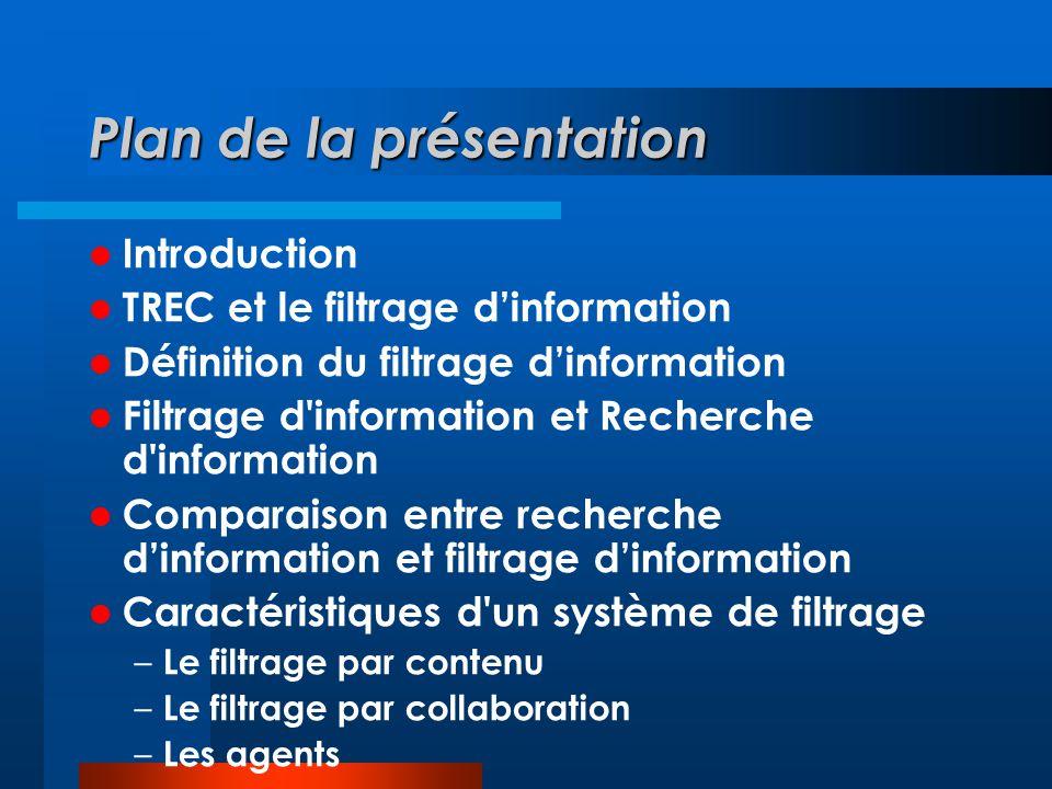 Plan de la présentation  Introduction  TREC et le filtrage d'information  Définition du filtrage d'information  Filtrage d'information et Recherch