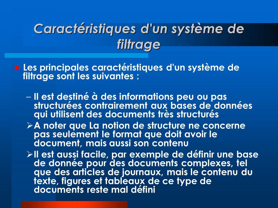 Caractéristiques d'un système de filtrage  Les principales caractéristiques d'un système de filtrage sont les suivantes : – Il est destiné à des info