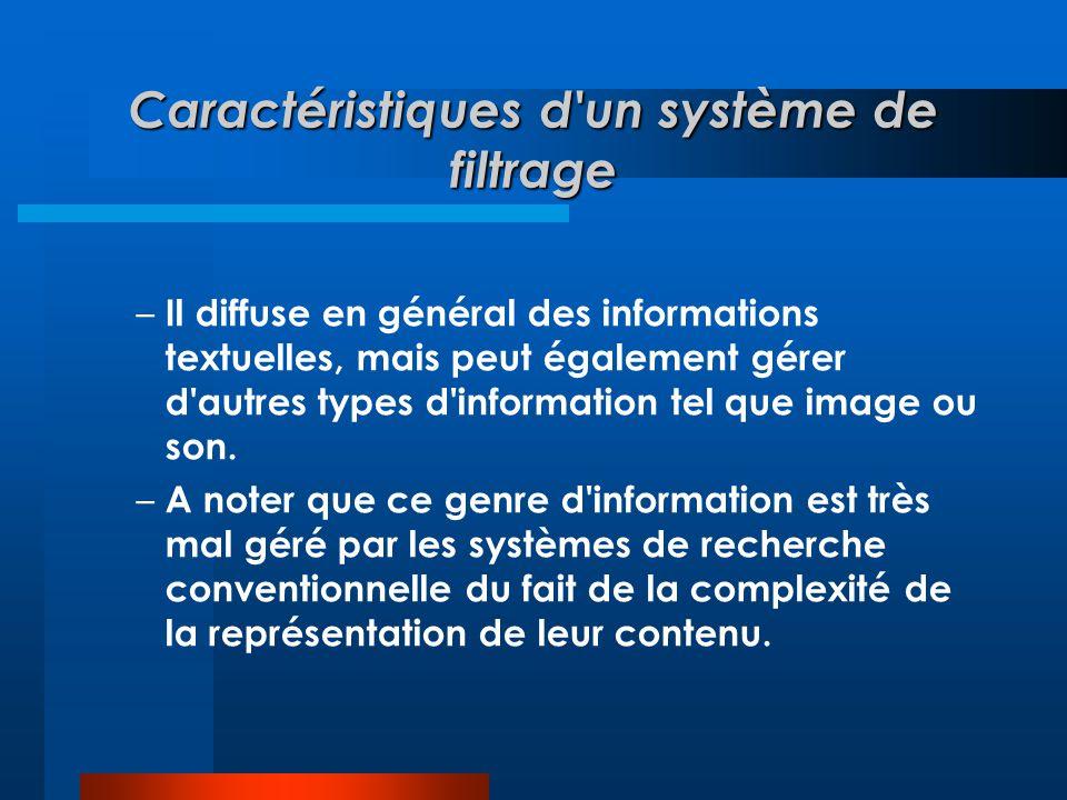 Caractéristiques d'un système de filtrage – Il diffuse en général des informations textuelles, mais peut également gérer d'autres types d'information