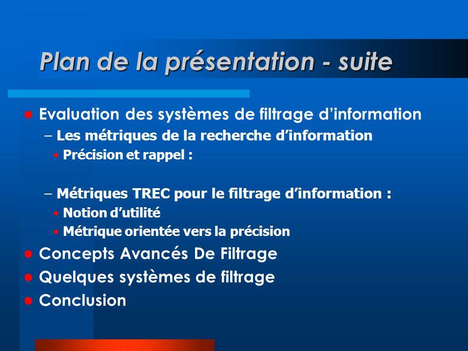 Plan de la présentation - suite  Evaluation des systèmes de filtrage d'information – Les métriques de la recherche d'information • Précision et rappe