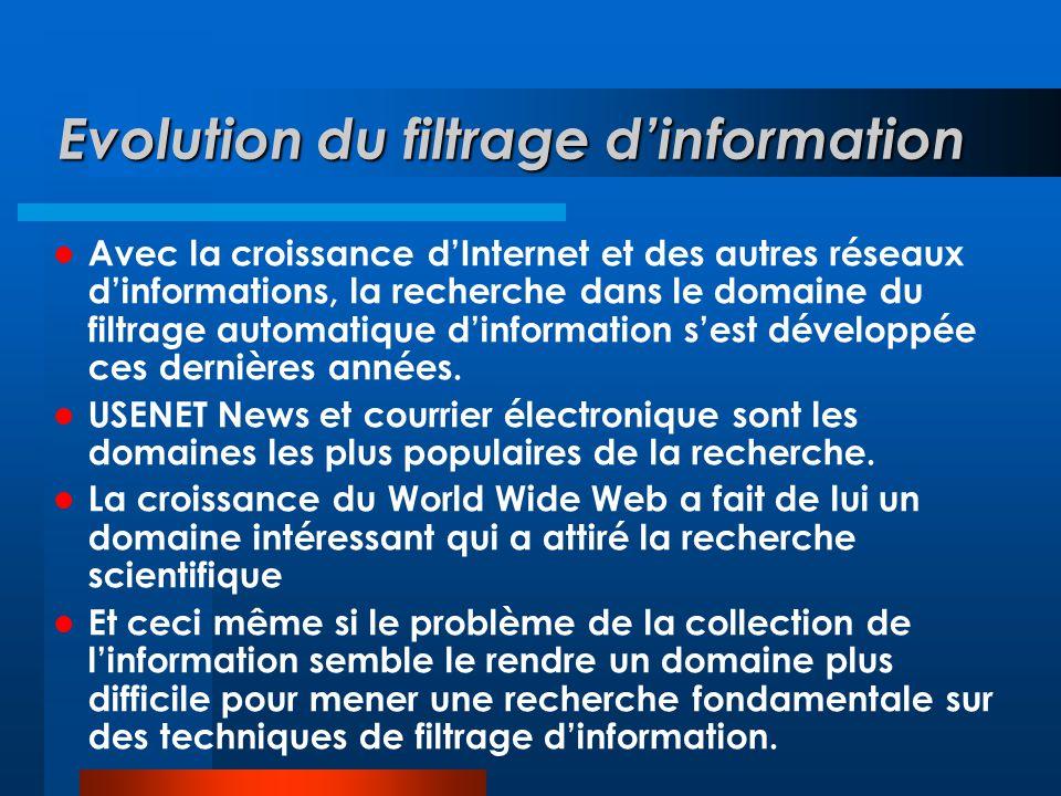 Evolution du filtrage d'information  Avec la croissance d'Internet et des autres réseaux d'informations, la recherche dans le domaine du filtrage aut