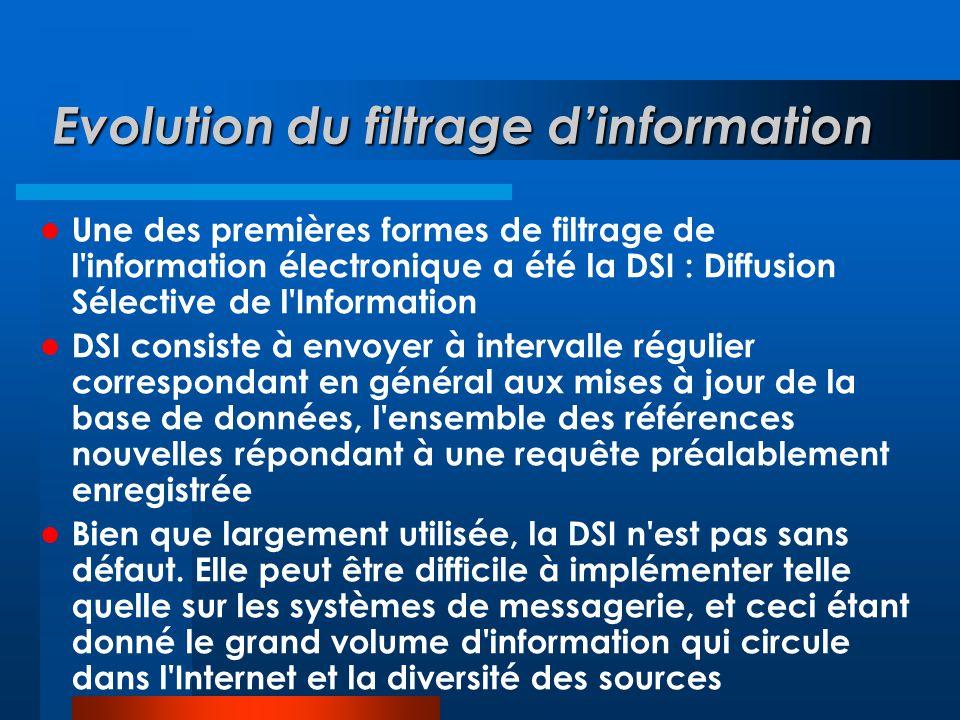 Evolution du filtrage d'information  Une des premières formes de filtrage de l'information électronique a été la DSI : Diffusion Sélective de l'Infor