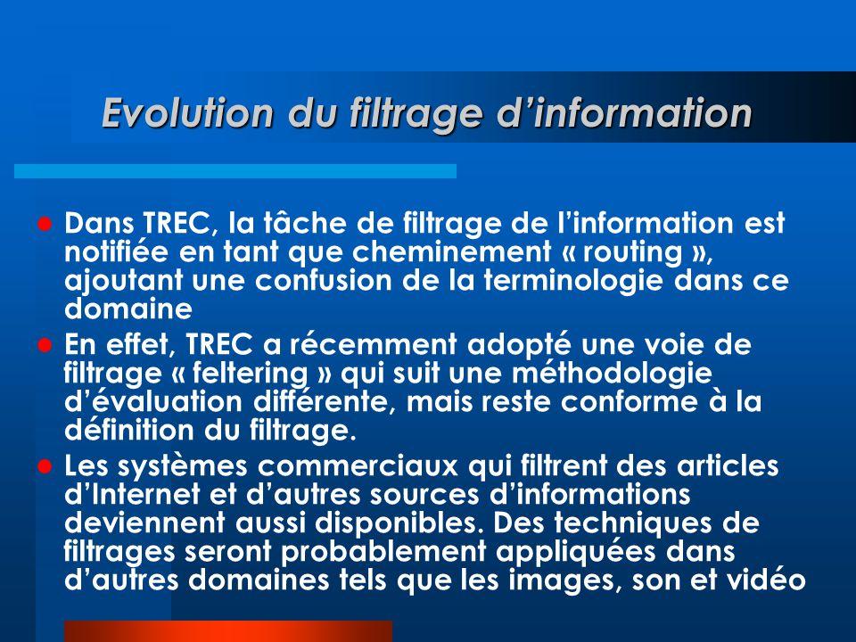 Evolution du filtrage d'information  Dans TREC, la tâche de filtrage de l'information est notifiée en tant que cheminement « routing », ajoutant une