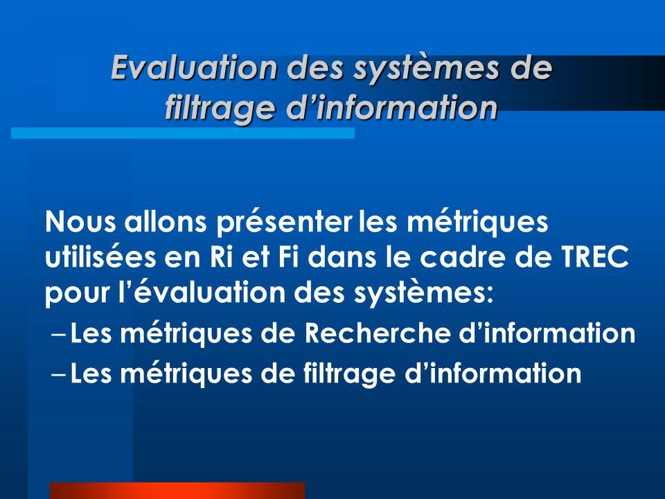 Evaluation des systèmes de filtrage d'information Nous allons présenter les métriques utilisées en Ri et Fi dans le cadre de TREC pour l'évaluation de