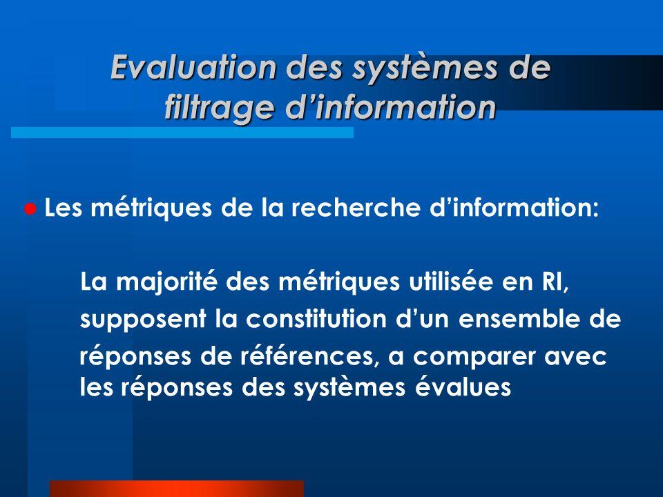 Evaluation des systèmes de filtrage d'information  Les métriques de la recherche d'information: La majorité des métriques utilisée en RI, supposent l