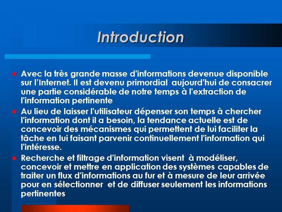 Introduction  Avec la très grande masse d'informations devenue disponible sur l'Internet. Il est devenu primordial aujourd'hui de consacrer une parti
