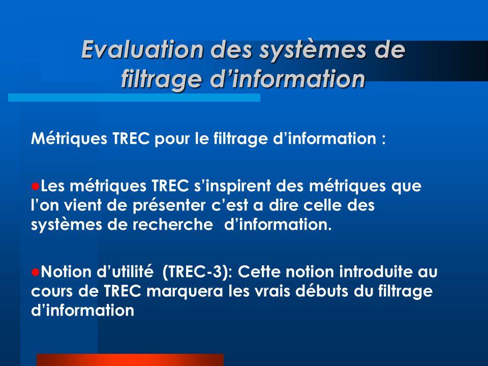 Evaluation des systèmes de filtrage d'information Métriques TREC pour le filtrage d'information :  Les métriques TREC s'inspirent des métriques que l