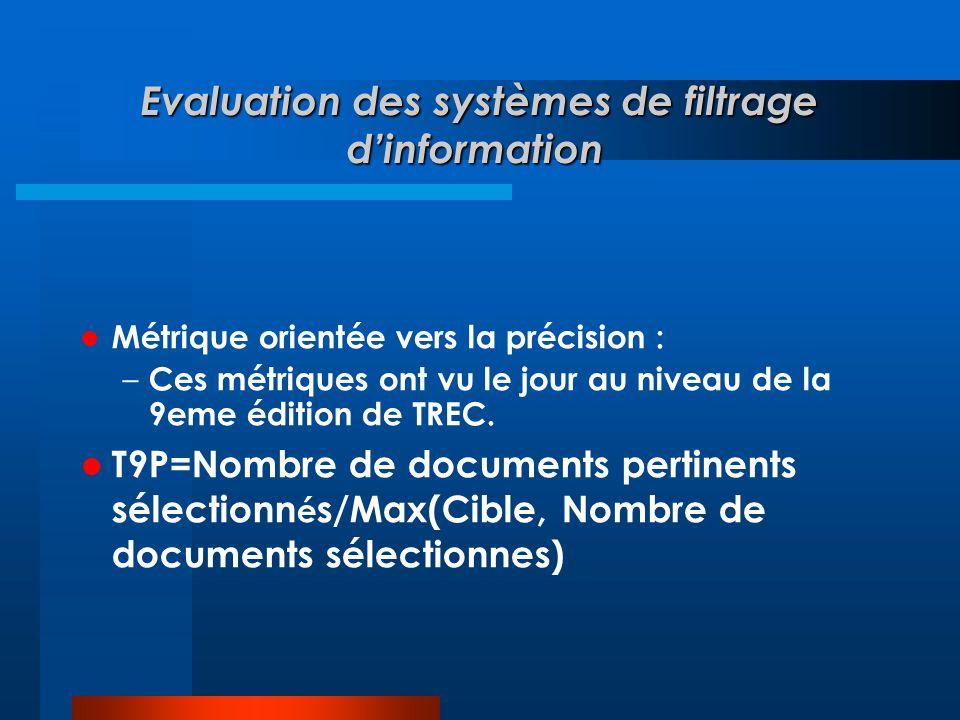 Evaluation des systèmes de filtrage d'information Evaluation des systèmes de filtrage d'information  Métrique orientée vers la précision : – Ces métr