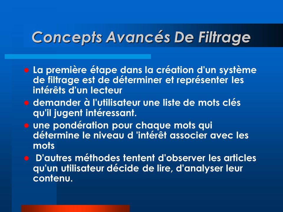 Concepts Avancés De Filtrage  La première étape dans la création d'un système de filtrage est de déterminer et représenter les intérêts d'un lecteur