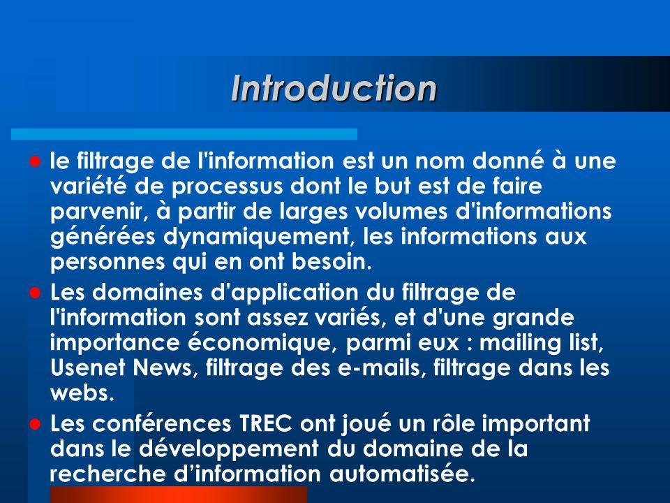 Introduction  le filtrage de l'information est un nom donné à une variété de processus dont le but est de faire parvenir, à partir de larges volumes