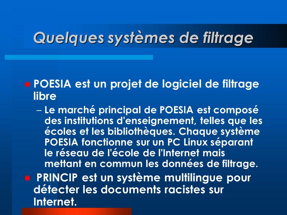 Quelques systèmes de filtrage  POESIA est un projet de logiciel de filtrage libre – Le marché principal de POESIA est composé des institutions d'ense