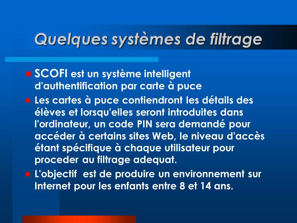 Quelques systèmes de filtrage  SCOFI est un système intelligent d'authentification par carte à puce  Les cartes à puce contiendront les détails des