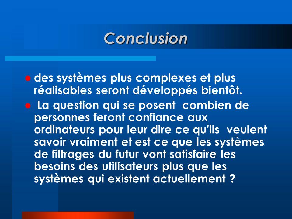 Conclusion  des systèmes plus complexes et plus réalisables seront développés bientôt.  La question qui se posent combien de personnes feront confia