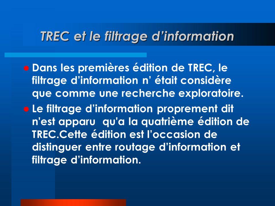 TREC et le filtrage d'information  Dans les premières édition de TREC, le filtrage d'information n' était considère que comme une recherche explorato