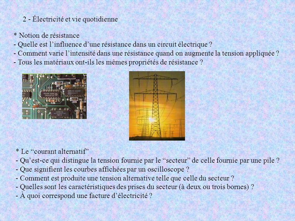"""* Le """"courant alternatif"""" - Qu'est-ce qui distingue la tension fournie par le """"secteur"""" de celle fournie par une pile ? - Que signifient les courbes a"""
