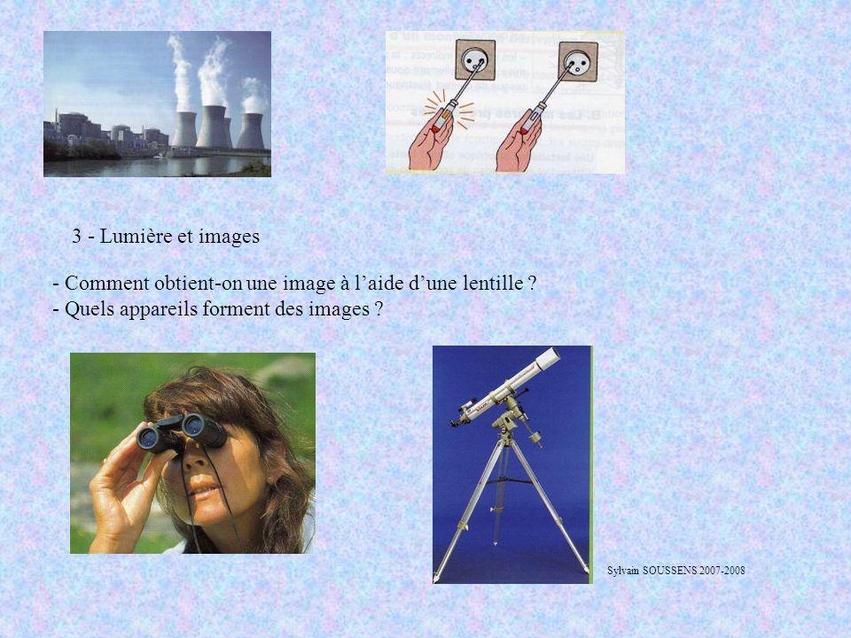3 - Lumière et images - Comment obtient-on une image à l'aide d'une lentille ? - Quels appareils forment des images ? Sylvain SOUSSENS 2007-2008