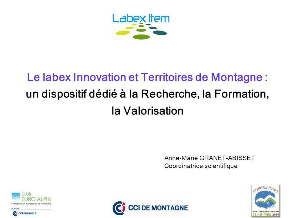 Le labex Innovation et Territoires de Montagne : un dispositif dédié à la Recherche, la Formation, la Valorisation Anne-Marie GRANET-ABISSET Coordinatrice scientifique