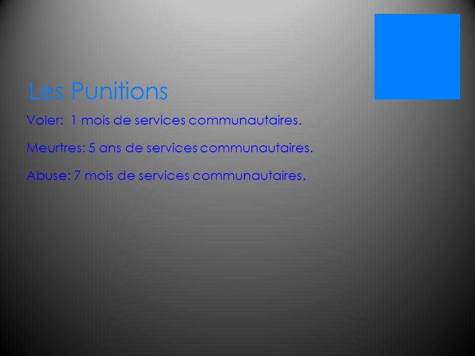 Les Punitions Voler: 1 mois de services communautaires.Meurtres: 5 ans de services communautaires.Abuse: 7 mois de services communautaires.