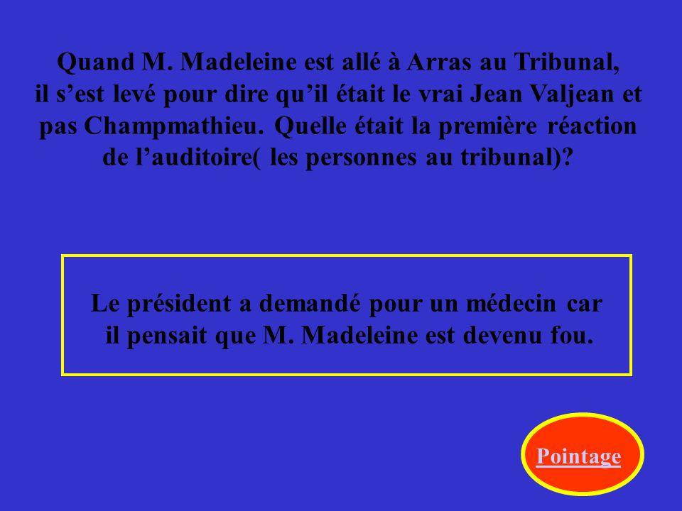 On apprend que M. Madeleine est Jean Valjean.