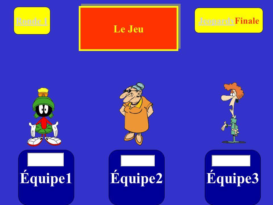 Équipe1Équipe2Équipe3 Ronde 1 $ $$ JeopardyJeopardyFinale Le Jeu