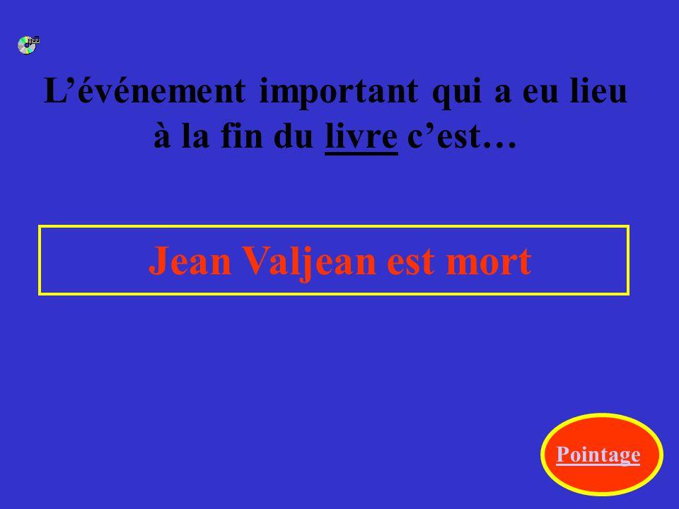 Une autre différence se passe à la fin du film quand Javert … Javert s'est suicidé. Pointage