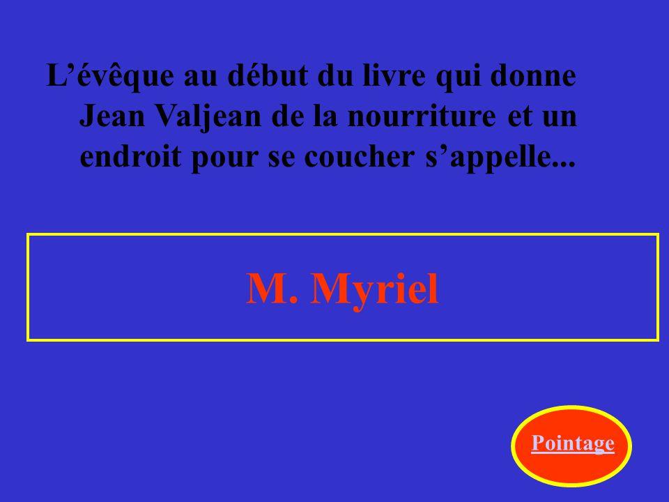 L'évêque au début du livre qui donne Jean Valjean de la nourriture et un endroit pour se coucher s'appelle...