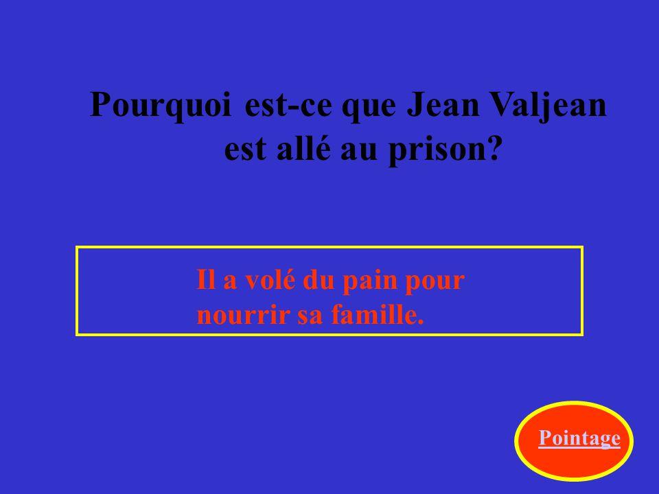 Pourquoi est-ce que Jean Valjean est allé au prison.