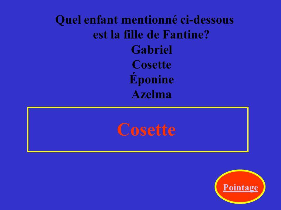 Quel enfant mentionné ci-dessous est la fille de Fantine.