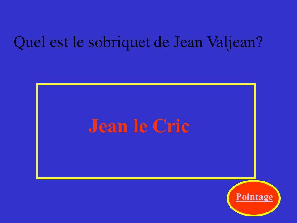 Quel est le sobriquet de Jean Valjean? Jean le Cric Pointage