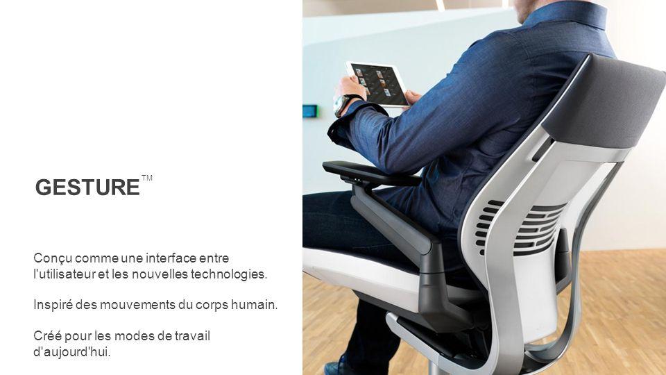 Conçu comme une interface entre l'utilisateur et les nouvelles technologies. Inspiré des mouvements du corps humain. Créé pour les modes de travail d'